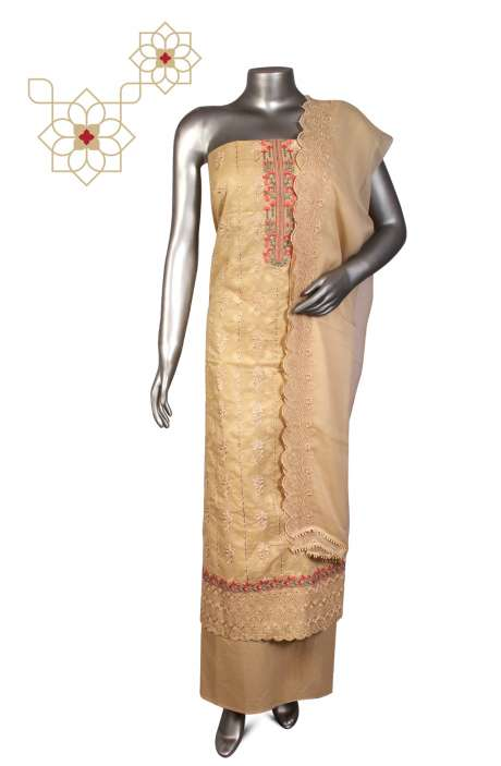 Beautiful Embroidered Cotton Jacquard Salwar Suit In Beige with Chiffon Dupatta - 245-11785B