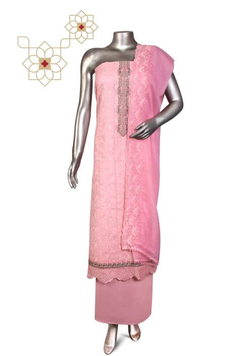 Beautiful Embroidered Cotton Jacquard Salwar Suit In Baby Pink with Chiffon Dupatta - 245-11890