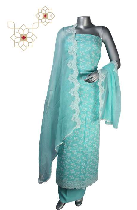 Beautiful Cotton Jacquard Embroidered Suit Sets in Turquoise - 245-11948A
