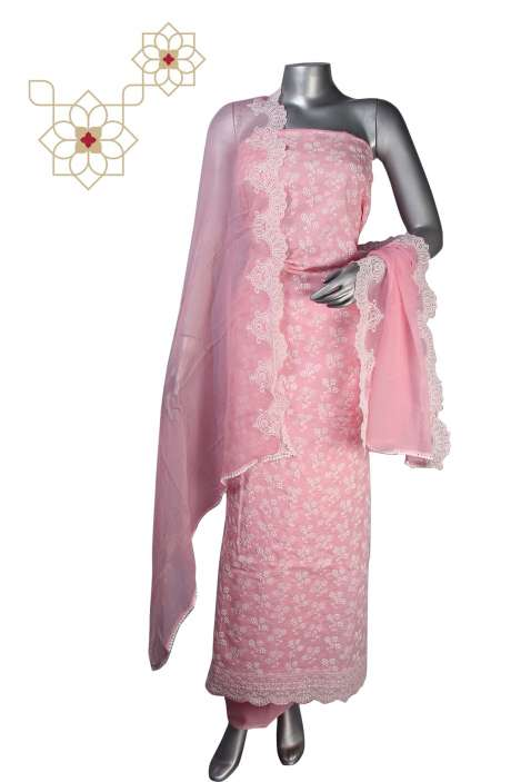 Beautiful Cotton Jacquard Embroidered Suit Sets in Baby Pink - 245-11948C