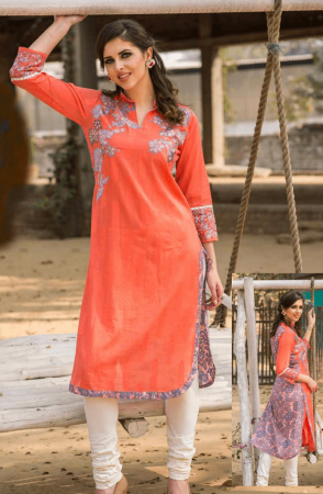 Cotton Stitched Jacquard Weave with Machine Embroidered Kurti In Rust - 245-13