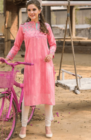 Cotton Pink Stitched Jacquard Weave with Machine Embroidery and Cut Work Kurti - 245-14