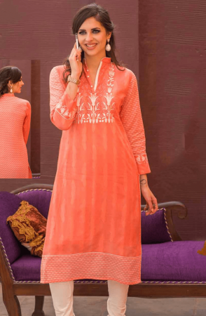Designer Peach Cotton Stitched Jacquard Weave with Machine Embroidery Kurti - 245-16