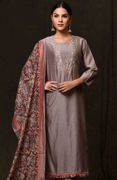 Exclusive Ready-to-Wear Embellished Chanderi and Glazed Cotton Salwar Suit Sets In Grey - 245-2183