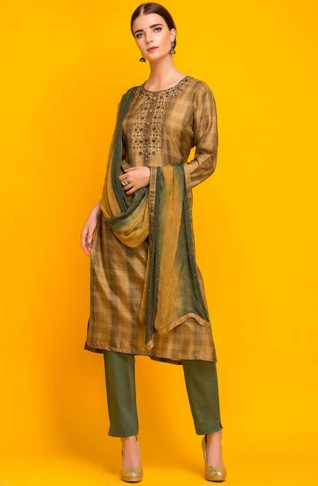 Exclusive Designer Ready-to-Wear Modal Cotton Kameez with Unstitched Salwar In Mehndi & Olive Green - 245-7025