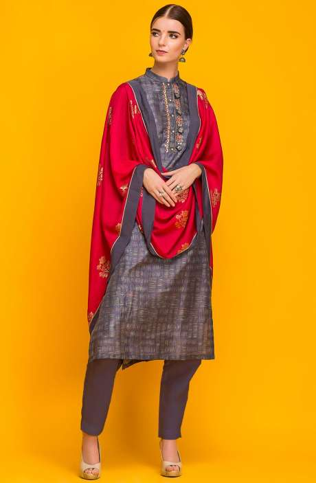 Exclusive Designer Stitched Modal Cotton Kameez with Unstitched Salwar In Grey - 245-7046