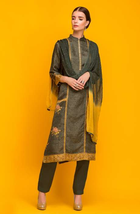 Exclusive Designer Stitched Satin Silk Kameez with Unstitched Cotton Salwar In Greyish Black & Olive Green - 245-7047A