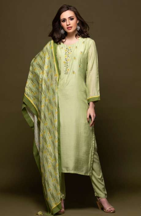 Modal Cotton Embellished Mandarin Collar Semi-Stitched Suit In Lime Green - 245-7088