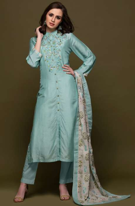 Modal Cotton Semi-Stitched Mandarin Collar Salwar Suit with Embellished Work - 245-7091