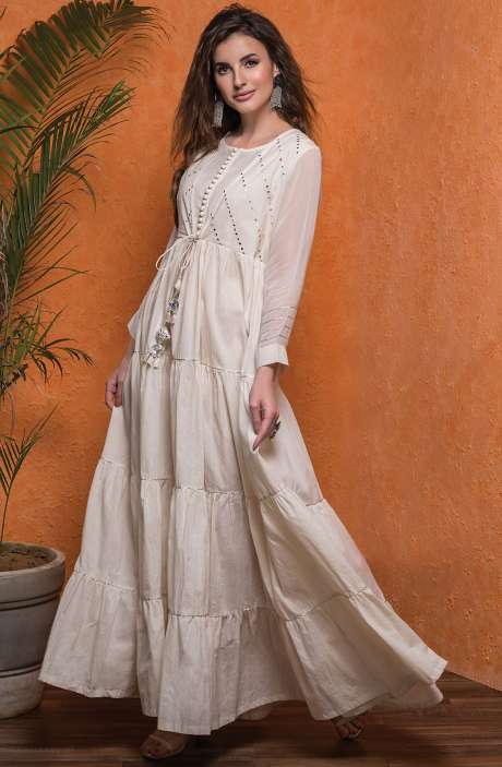Designer Cream Cotton Readymade Anarkali Gown with Georgette Sleeves - 245-8029