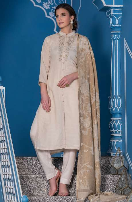 Semi-Stitched Cotton Mandarin Collar Salwar Suit with Embellished Work - 245-8034