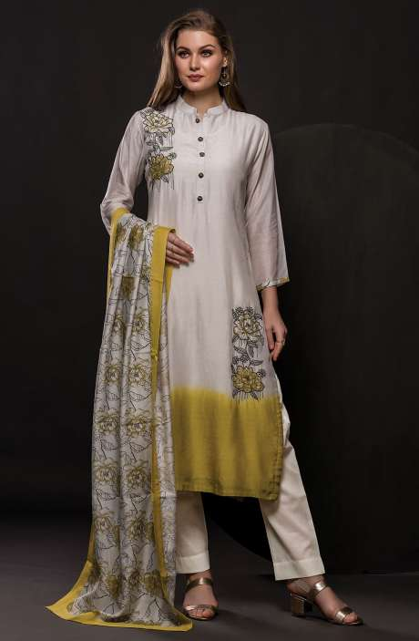 Semi-stitched Modal Cotton Exclusive Salwar Kameez In Pearl White & Mehndi - 245-8044