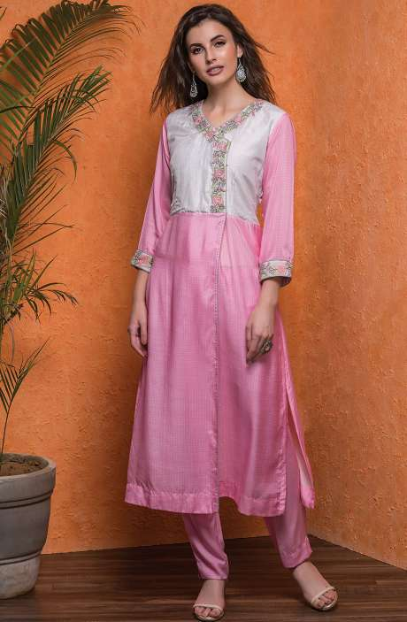 Cotton Stitched Printed A-line Kameez with Unstitched Salwar In Cream & Pink - 245-8053