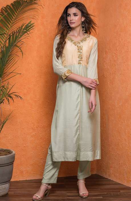 Cotton Stitched Printed A-line Kameez with Unstitched Salwar In Yellow & Sea Green - 245-8053B