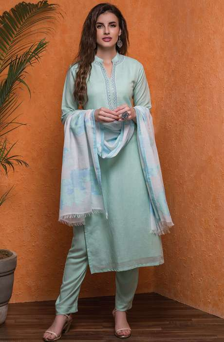 Handloom Cotton Semi-stitched Salwar Kameez In Sea Green - 245-8055