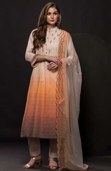 Cotton Semi-stitched Digital Printed Salwar Kameez In Cream & Orange - 245-8062