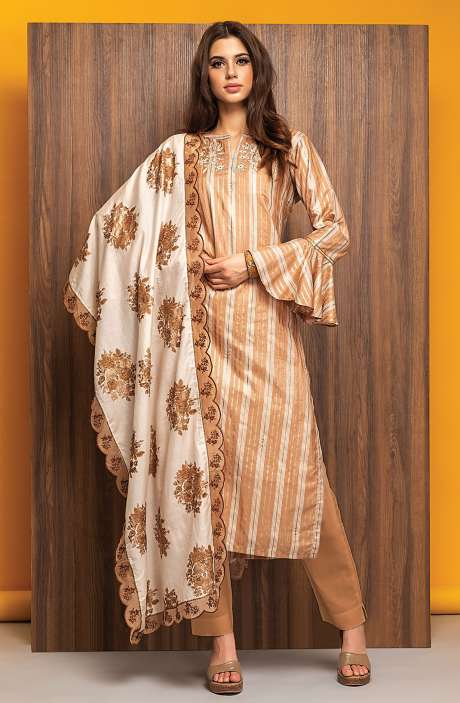 Exclusive Semi-stitched Modal Cotton Foil Print with Embellished Suit Sets In Brown - 245-8086