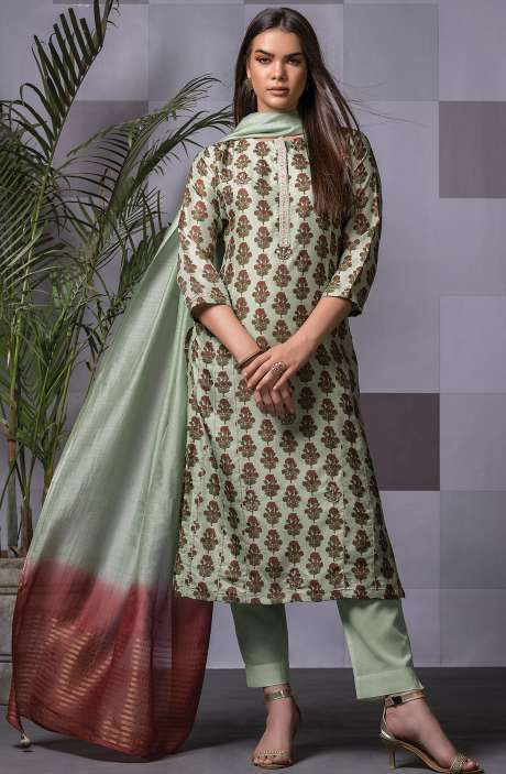 Designer Raw Silk Semi-stitched Digital Printed Salwar Kameez In Green - 245-8096