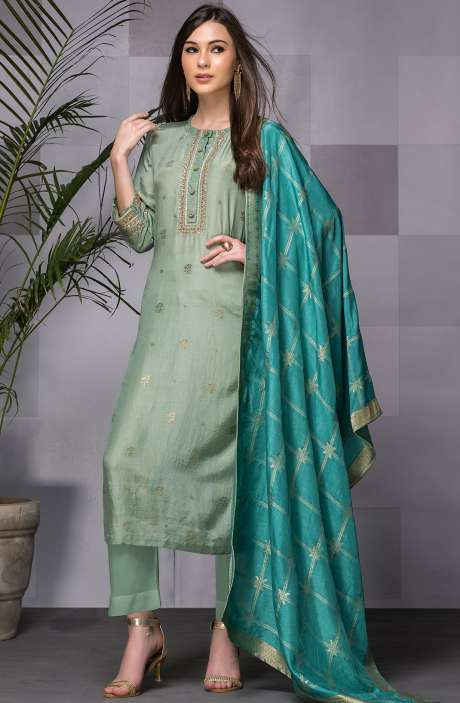 Designer Festive Special Semi-stitched Silk Jacquard Work Salwar Suit In Sea Green - 245-8110B