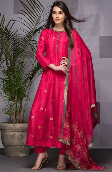 Designer Pink Silk Ready-to-Wear Anarkali Suit with Dupatta - 245-8114