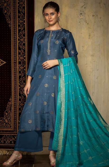 Beautiful Silk Jacquard Semi-stitched Salwar Kameez In Blue - 245-8116A