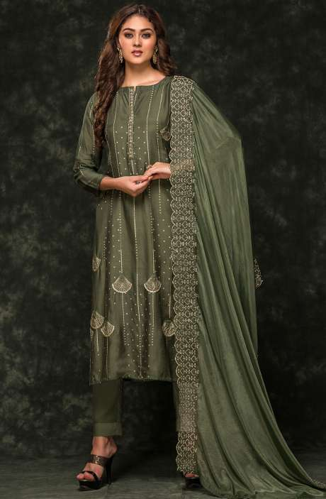 Festive Special Semi-stitched Modal Cotton Printed Zari & Cutdana Work Salwar Suit In Olive Green Color - 245-8117