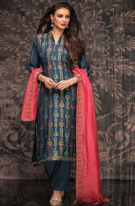Beautiful Silk Jacquard Semi-stitched Salwar Kameez In Blue - 245-8135