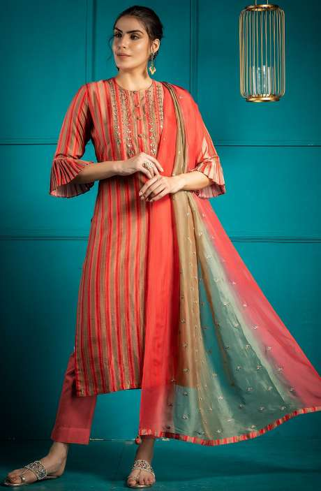 Stylish Multi & Coral Exclusive Silk Semi-stitched Salwar Kameez - 245-8201-R