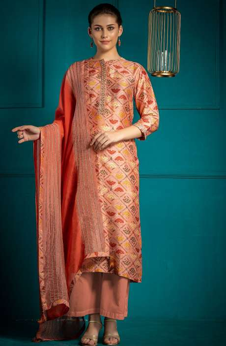Digital Printed Multicolor Exclusive Silk Semi-stitched Salwar Kameez - 245-8204