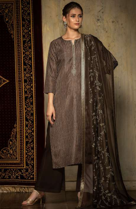 Grey and Beige Exclusive Silk Semi-stitched Salwar Kameez - 245-8231C