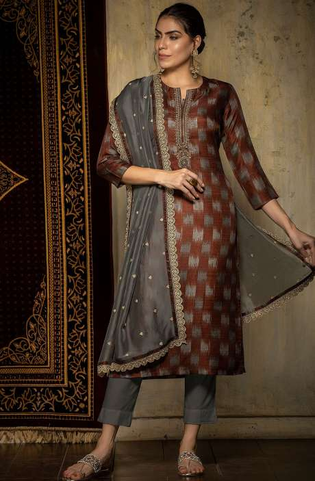 Stylish Silk Semi-stitched Digital Printed Salwar Kameez In Grey & Maroon - 245-8237A