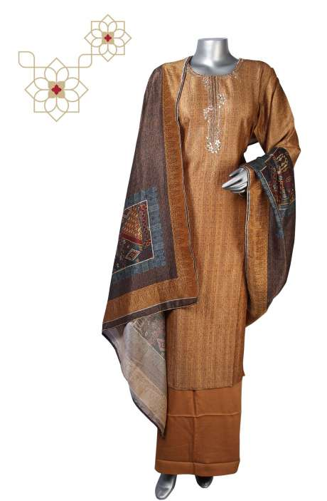 Semi-stitched Modal Silk Exclusive Salwar Kameez in Multi & Brown - 245-8238