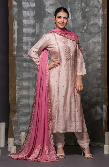 Modal Cotton Designer Semi-stitched Suit Sets In Light Pink - 245-8252