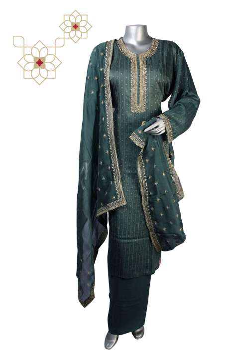 Chanderi Silk Semi-stitched Salwar Kameez In Bottle Green - 245-8264