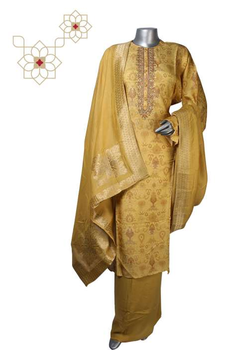 Semi-stitched Silk Digital Printed Exclusive Salwar Kameez in Yellow - 245-8293