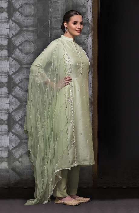 Chanderi Semi-stitched Suit Sets in Pista Green with Chiffon Dupatta - 245-8303