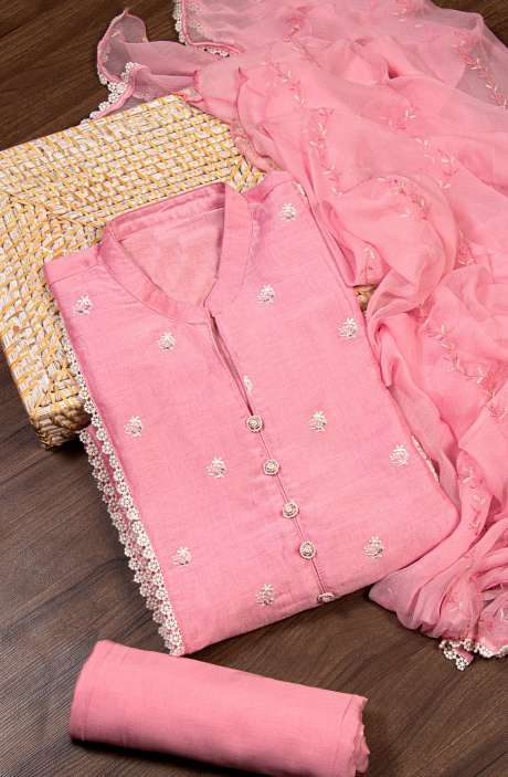 Semi-stitched Modal Cotton Embroidered Salwar Kameez In Pink with Beautiful Chiffon Dupatta - 245-8303A