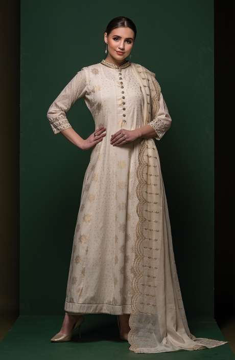 Cream Beautiful Cotton with Lining Anarkali Suit with Organza Dupatta - 245-8305