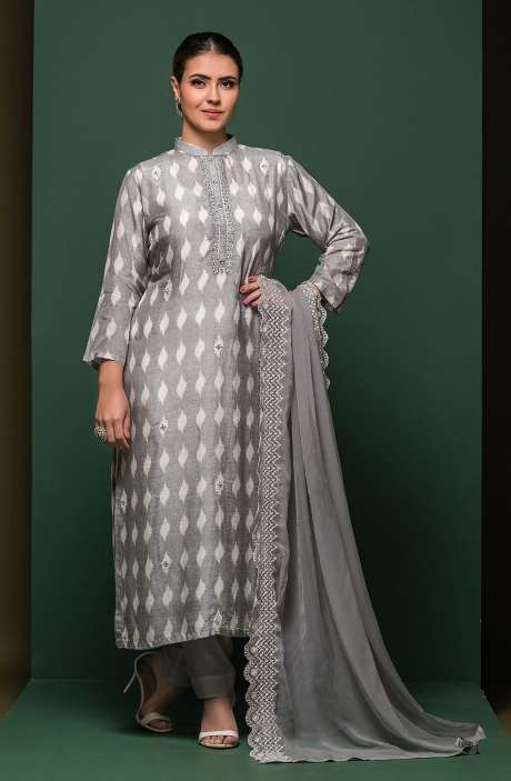 Muslin Silk Semi-stitched Suit Sets in Grey with Chiffon Dupatta - 245-8309