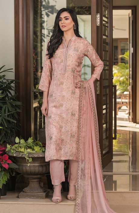 Modal Cotton Semi-stitched Suit Sets in Peach with Chiffon Dupatta - 245-8315