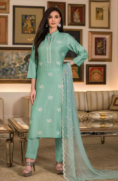 Modal Cotton Semi-stitched Suit Sets in Sea Green with Chiffon Dupatta - 245-8326A
