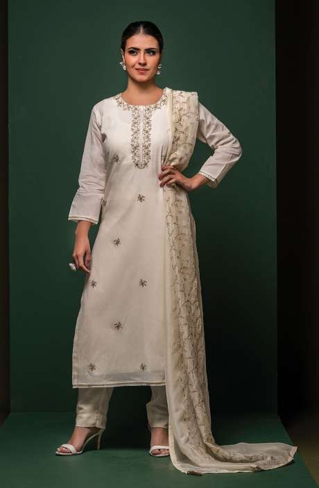Cotton Semi-stitched Suit Sets in Cream with Organza Dupatta - 245-8403