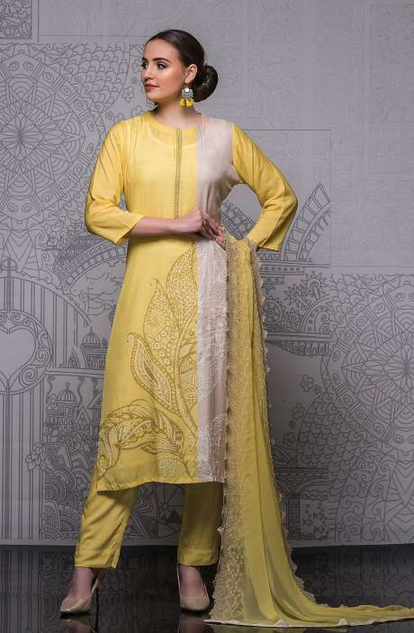 Modal Cotton Semi-stitched Suit Sets in Yellow with Chiffon Dupatta - 245-8409