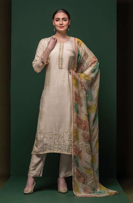Modal Cotton Beautiful Semi-stitched Suit Sets In Cream - 245-8415