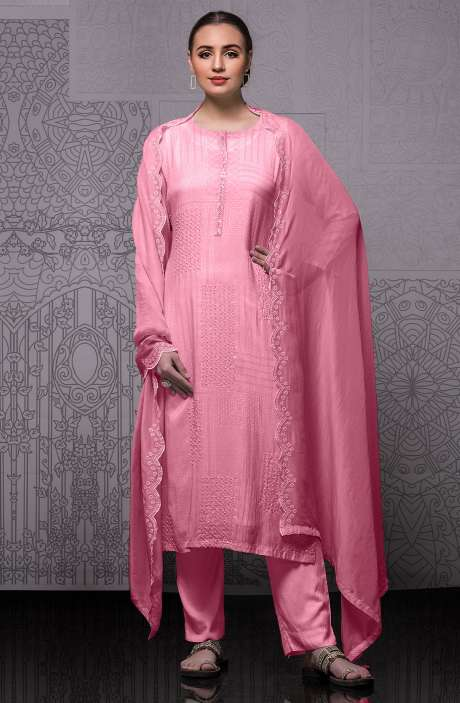 Modal Cotton Semi-stitched Suit Sets in Pink with Organza Dupatta - 245-8416