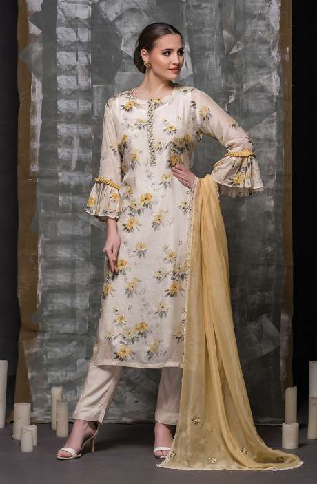 Modal Cotton Semi-stitched Suit Sets in Multi with Organza Dupatta - 245-8428