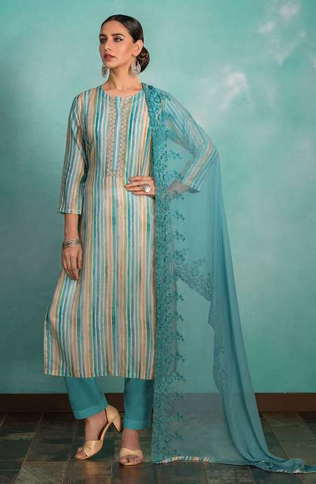 Muslin Silk Semi-stitched Suit Sets in Cream and Multi with Chiffon Dupatta - 245-8429