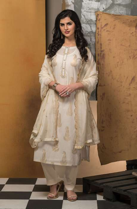 Cotton Semi-stitched Suit Sets in Cream with Organza Dupatta - 245-8434