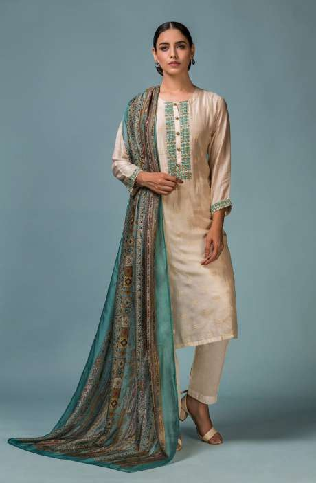 Semi-stitched Muslin Cotton Beautiful Schiffli Embroidered Salwar Kameez in Cream with Matching Mask - 245-8441