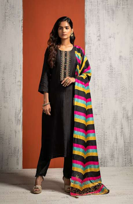 Designer Russian Silk Semi-stitched Salwar Kameez In Black with Silk Dupatta - 245-8474
